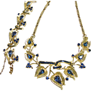 Coro Dark Blue Rhinestone in Gold Tone Metal Necklace and Bracelet
