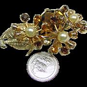 Eisenberg Ice Rhinestone Flower Brooch
