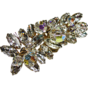 Brilliant White Rhinestone Broach with Aurora Borealis Crystals