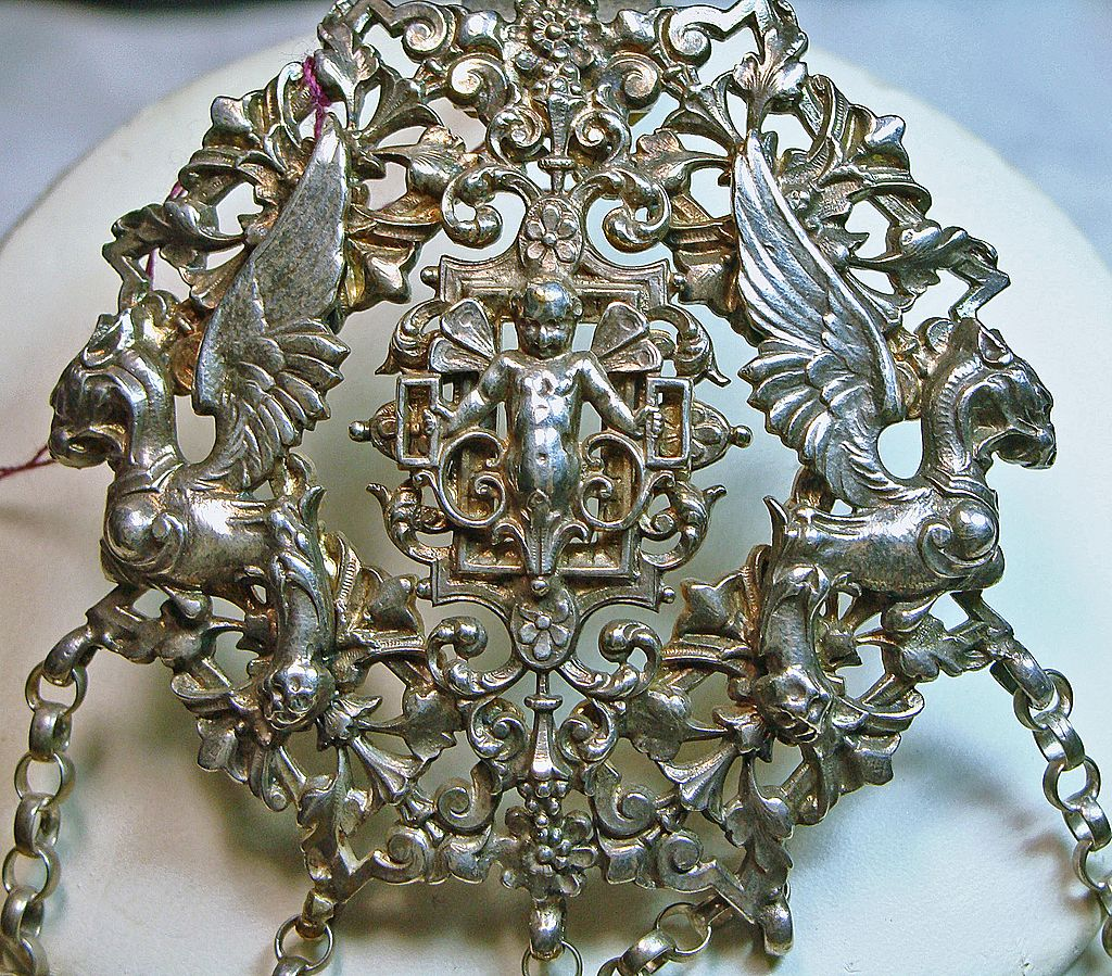 Cherubs and Griffins Silver Chatelaine Circa 1890s