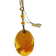 Amber Glass Pendant on Gold Filed Chain