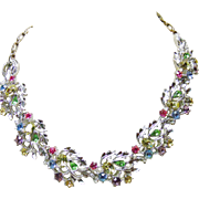 Multiple Color Rhinestones Set in Silver Tone Necklace