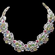 Multiple Color Rhinestones Set in Silver Tone Necklace