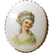 Late Victorian Porcelain Brooch with Portrait of a Woman