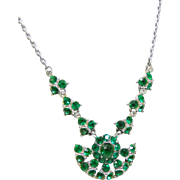Bogoff  Green Rhinestone Pendant Style Necklace