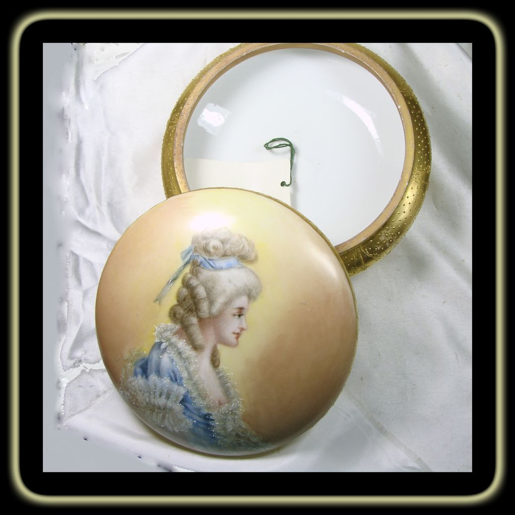 7 1/2 inch Diameter Hand Painted Porcelain Powder Box