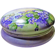 Large T&V Limoges Powder Box Covered in Purple and White Flowers