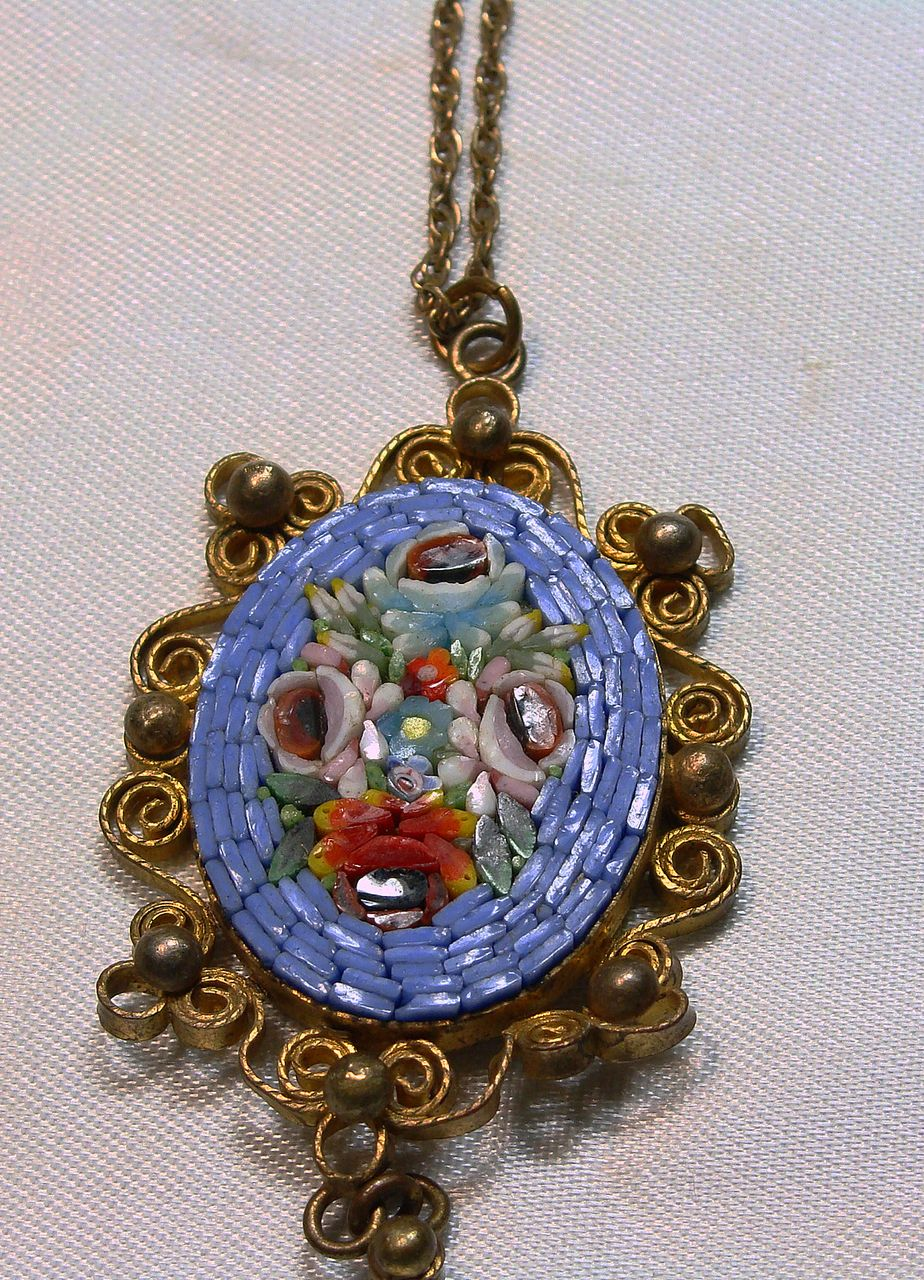 Vintage Italian Mosaic Flower Pendant with Chain