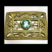 Victorian Gold Over Brass Sash Pin with Aqua Color Stone