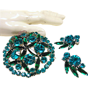 Aqua and Dark Green Rhinestone Brooch and Earrings