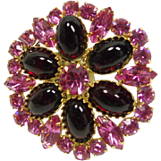 Brooch with Red  Glass Cabochon  and Hot Pink Rhinestones