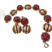 Bracelet and Earrings with Molded Deep Red Flowers and Channel Set Rhinestones