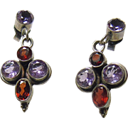 Garnet and Amethyst Sterling Silver Earrings