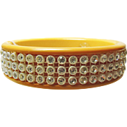 1940s' Deep Egg Yolk Mustard Bakelite Bangle Bracelet with White Crystal Rhinestones
