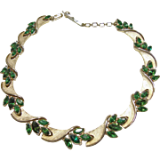 Trifari Gold Tone Scalloped Necklace with Green Rhinestones