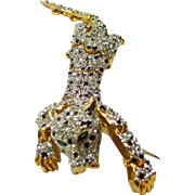 Jointed Rhinestone Leopard Brooch