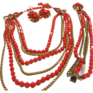 Lipstick Red and Gold Over Brass Hobe 3 Pc Set