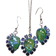Faux Opal Pendant and Earrings