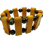 Butterscotch and Green Bakelite Stretch Bracelet