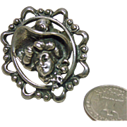 Sterling Silver 1930s Gibson Girl Brooch