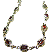Sterling Silver and Red Garnet Link Bracelet