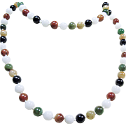 Multiple Color Jade Bead Necklace