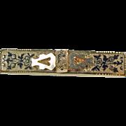 Rose Gold over Base Metal Bar Pin/Pendant with Taille  d'Epargne Black Enamel