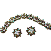 Brass Bracelet and Earrings with White ,Pink and Green Enamel