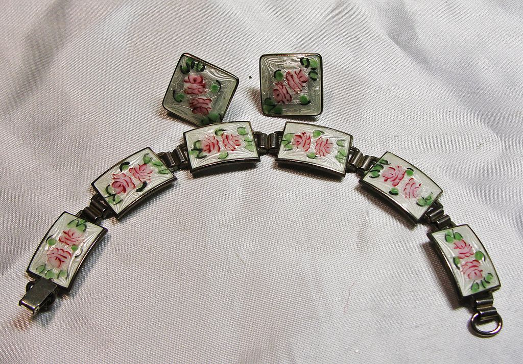 Vintage Guilloche Enamel Bracelet and Earrings