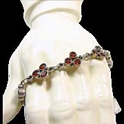 Garnet and Sterling Silver Link Style Bracelet