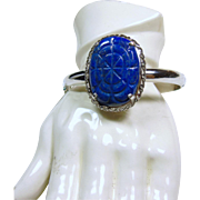 Narrow Sterling Silver Bangle Bracelet with Carved Lapis