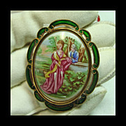 Porcelain Brooch of a Man and Woman in Brass with Brilliant Green Enamel