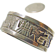 Sterling Silver Southwestern Band Style Ring Decorated with Pueblo Scenes