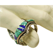 Sterling Silver Ring with Stone on Metal Inlay