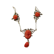 Faux Carved Coral and Brass Festoon Style Necklace
