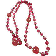 Necklace of Hot Pink Glass Beads