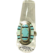 Sterling Silver Ring with Turquoise and Opal Stone on Stone Inlay