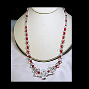 Japanese Brilliant Red and Clear Crystal  Bead Necklace