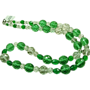 Brilliant Green and Clear Pressed Glass Crystal Necklace