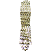 Deco Platinum Tone Metal Bracelet with Rows of White Rhinestones