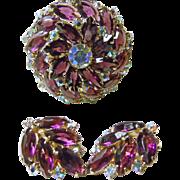 Deep Purple and Iridescent Rhinestones and Earrings