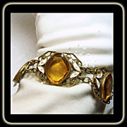 Brass Link Style Bracelet with Faux Citrine and White Enamel Leaves
