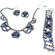 Three Piece Blue Rhinestone Set