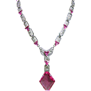 Deco Filigree Necklace with Bright Pink Glass