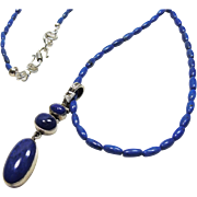 Necklace of Rice Shape Lapis Beads with Pendant 0f Lapis Cabochons