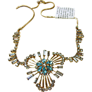 Gold Filled Pendant Necklace with Rhinestones