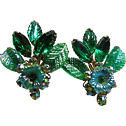 Judy Lee Floral Art Glass and Rhinestone Earrings