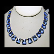 1930s Czech Necklace of Brass and Blue Glass