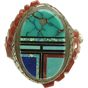 Heavy Sterling Silver Ring with Turquoise Inlay and Coral Cobblestone