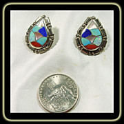 Zuni Sterling Silver Earrings with Multiple Stone Inlay